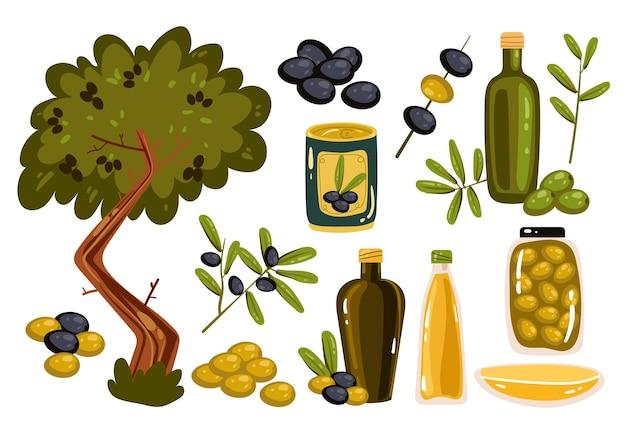 Collection d'éléments de scénographie isolée à l'huile d'olive