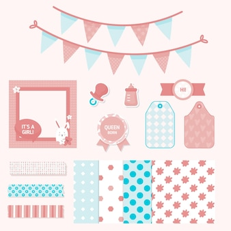 Collection d'éléments de scrapbooking baby shower