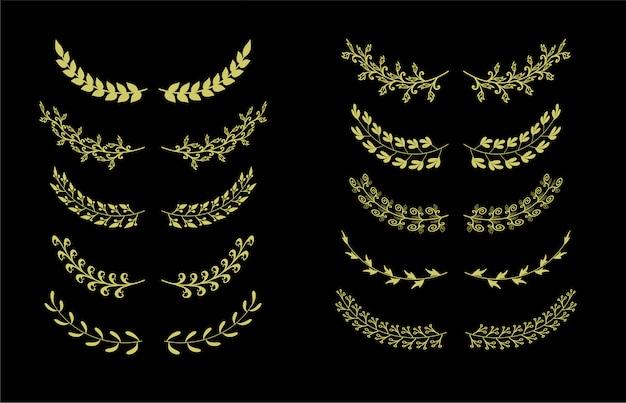 Collection d'éléments de set de bordures dessinées à la main, ornement floral swirl