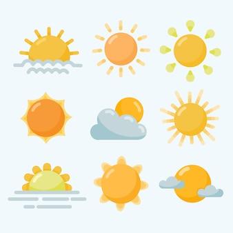 Collection d'éléments de soleil plat