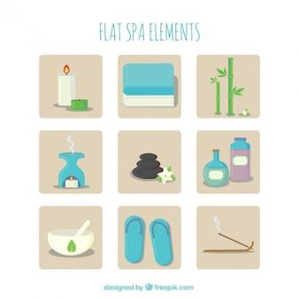 Collection d'éléments de spa flat