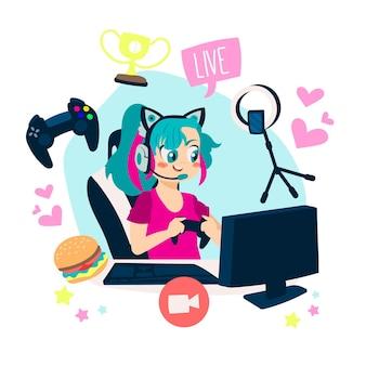 Collection d'éléments de streamer de jeu de dessin animé