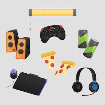Collection d'éléments de streamer de jeu plat organique