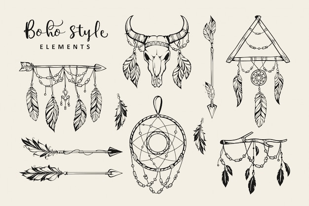 Collection d'éléments de style boho dessinés à la main