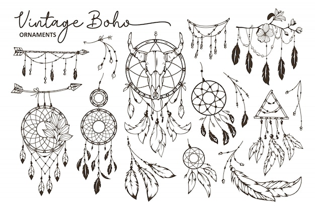 Collection d'éléments de style boho dessinés à la main