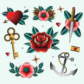Collection d'éléments de style tatouage