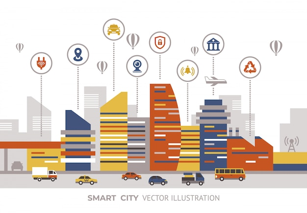 Collection d'éléments technologiques de la ville intelligente