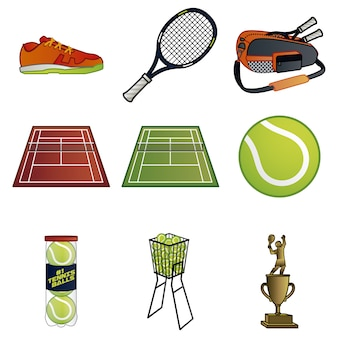 Collection d'éléments de tennis