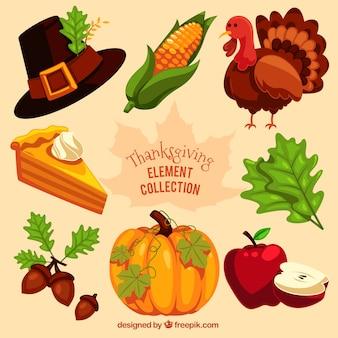 Collection d'éléments de thanksgiving