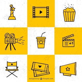 Collection d'éléments typiques du cinéma