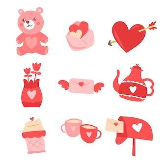 Collection d'éléments de valentine dessinés à la main