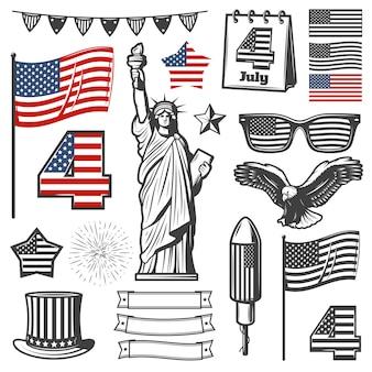 Collection d'éléments vintage de la fête de l'indépendance