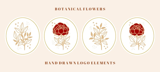 Collection d'éléments vintage rose botanique, fleur de pivoine et branche de feuille pour marque de beauté ou logo floral féminin