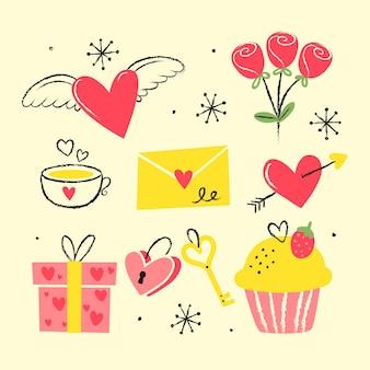 Collection d'éléments vintage saint valentin