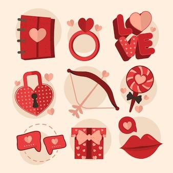 Collection d'éléments vintage de la saint-valentin
