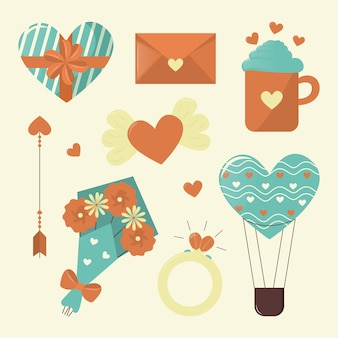Collection d'éléments vintage valentines day