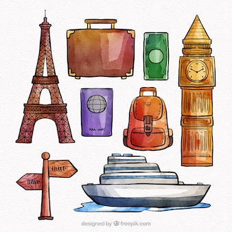 Collection d'éléments de voyage aquarelle