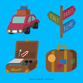 Collection d'éléments de voyage dans un style dessiné à la main
