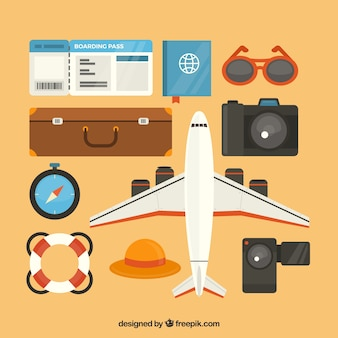 Collection d'éléments de voyage avec un design plat