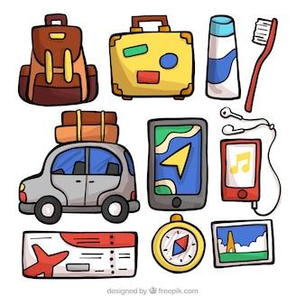 Collection d'éléments de voyage dessinés à la main
