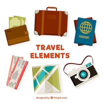 Collection d'éléments de voyage plat