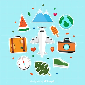 Collection d'éléments de voyage plats