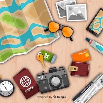 Collection d'éléments de voyage