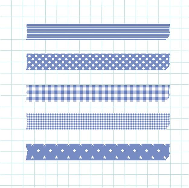 Collection d'éléments en washi tape bleu