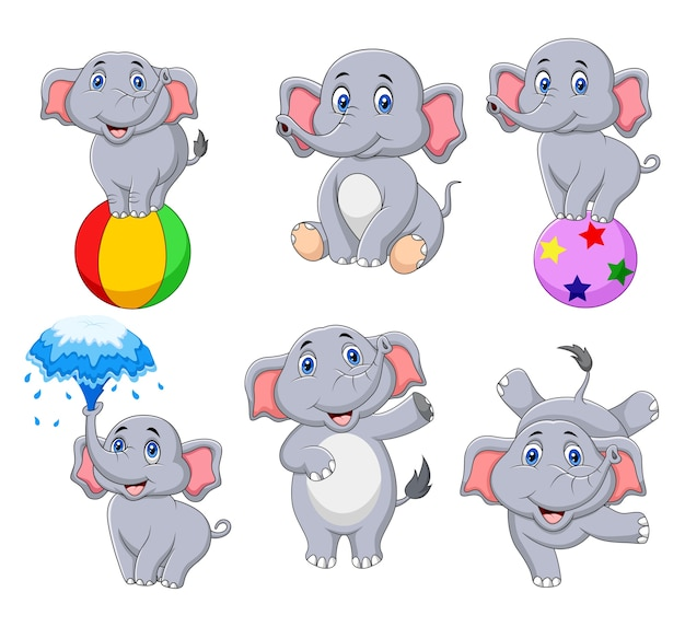Collection d'éléphants de bande dessinée avec différentes actions