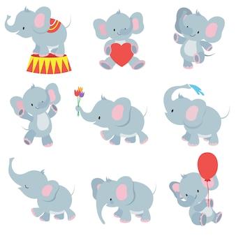 Collection d'éléphants de bébé drôle de bande dessinée pour des autocollants d'enfants
