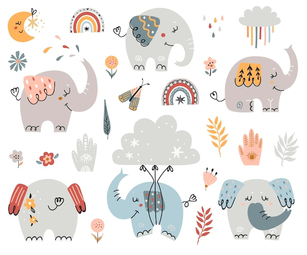 Collection d'éléphants boho.