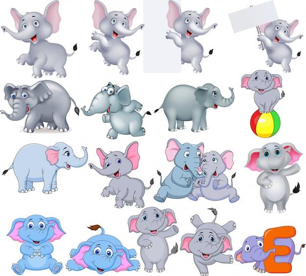 Collection d'éléphants de dessins animés avec différentes actions