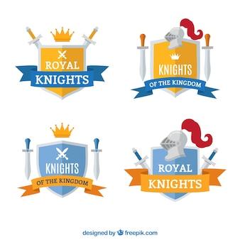 Collection d'emblèmes de chevalier jaune et bleu