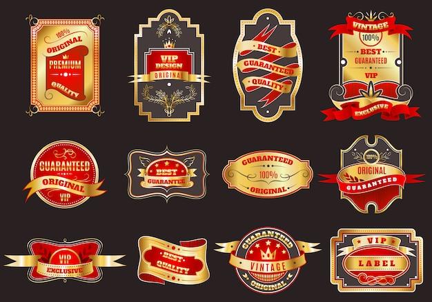 Collection d'emblèmes d'étiquettes rétro dorées