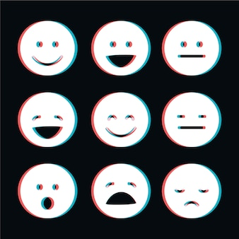 Collection d'emojis glitch