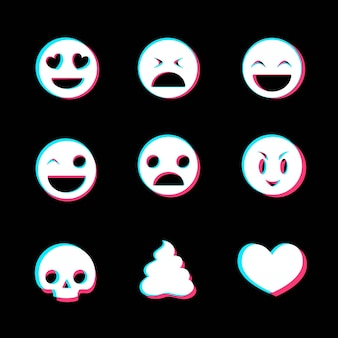 Collection d'emojis glitch