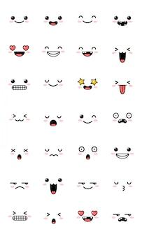 Collection d'émoticônes d'émoticônes kawaii sucrées.
