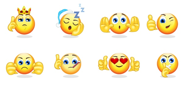 Collection d'émoticônes lumineuses de dessin animé avec des gestes de la main et différentes émotions, sentiments et expressions isolés