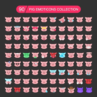 Collection d'émoticônes de porc.
