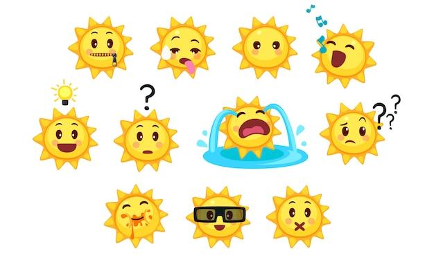 Collection d'émoticônes de soleil mignons