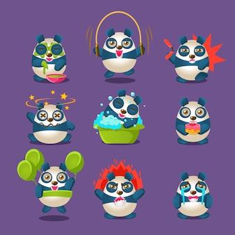 Collection d'émotions et d'activités de panda mignon avec un personnage de dessin animé humanisé faisant différentes choses