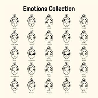 Collection d'émotions de visage de fille