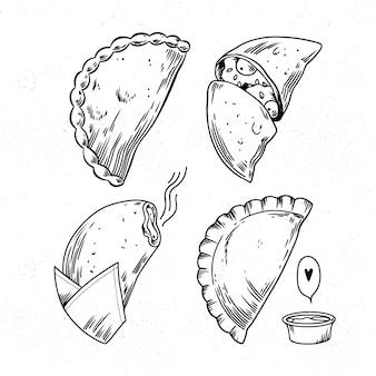 Collection d'empanada monochrome