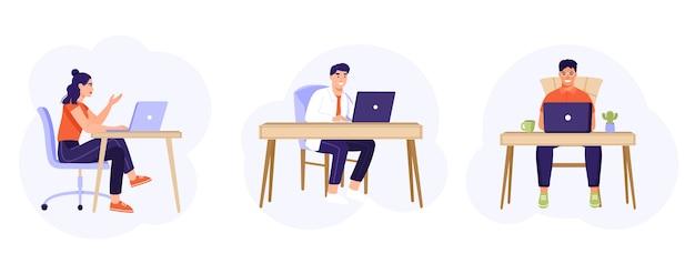 Collection d'employés de bureau assis à un bureau.