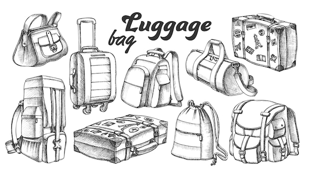 Collection d'encres de valises différentes