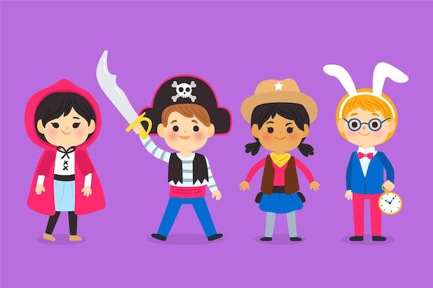 Collection enfant halloween design dessiné à la main
