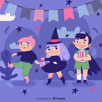 Collection d'enfant halloween dessiné main mignon