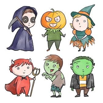 Collection enfant halloween style aquarelle