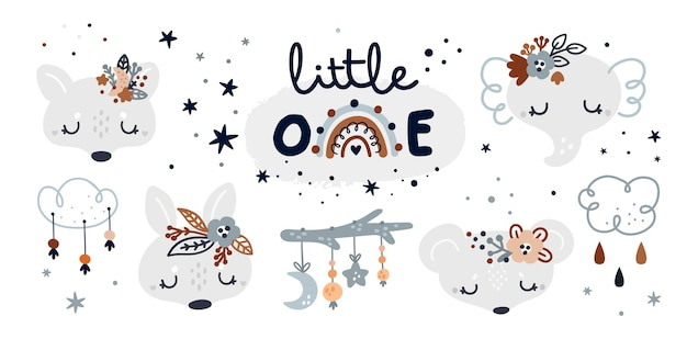 Collection enfantine de jalon avec des bébés animaux de dessin animé et des éléments de décoration pour enfants