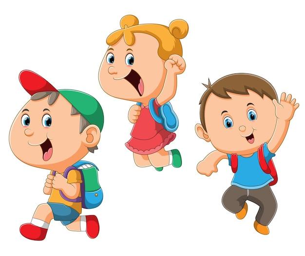 La collection des enfants allant à l'école avec l'esprit plein de l'illustration